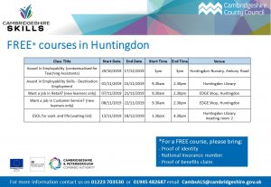 Cambridgeshire Skills | FREE courses in Huntingdon